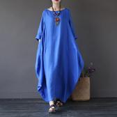 長袖洋裝 素色 棉麻 寬鬆 長袖洋裝 連身裙 L碼【CM01638】 BOBI