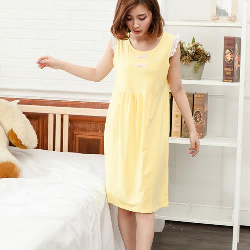 睡衣透氣蕾絲無袖圓領棉質連身睡衣 -黃-波曼妮亞 5002300