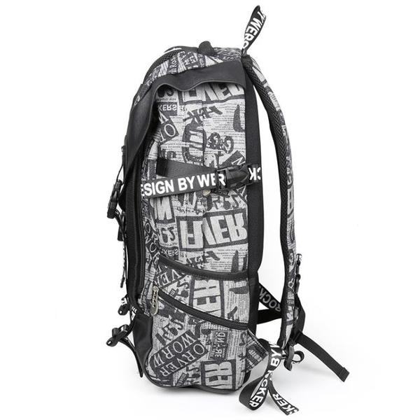 旅行包 涂鴉潮流雙肩包男學生大容量旅行背包時尚個性街頭街拍書包電腦包