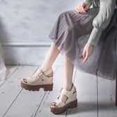 尾牙年貨 鬆糕涼鞋女扣坡跟超高跟鞋度假內增高魚嘴鞋