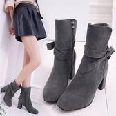 柬依大東2018秋冬季新款女靴韓版百搭時尚粗跟高跟中筒馬丁靴單靴 美芭