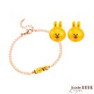 J'code真愛密碼 LINE我愛熊大黃金/水晶珍珠手鍊+甜心兔兔黃金耳環