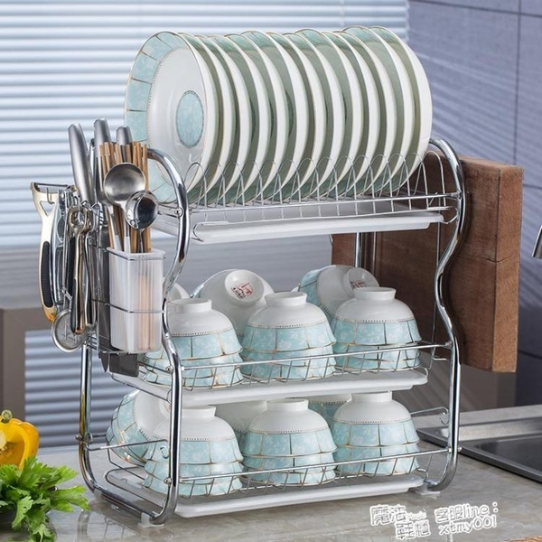 廚房置物架用品用具晾洗放瀝水碗架碗櫃碗碟碗筷盤刀收納盒餐具架 ATF 夏季新品