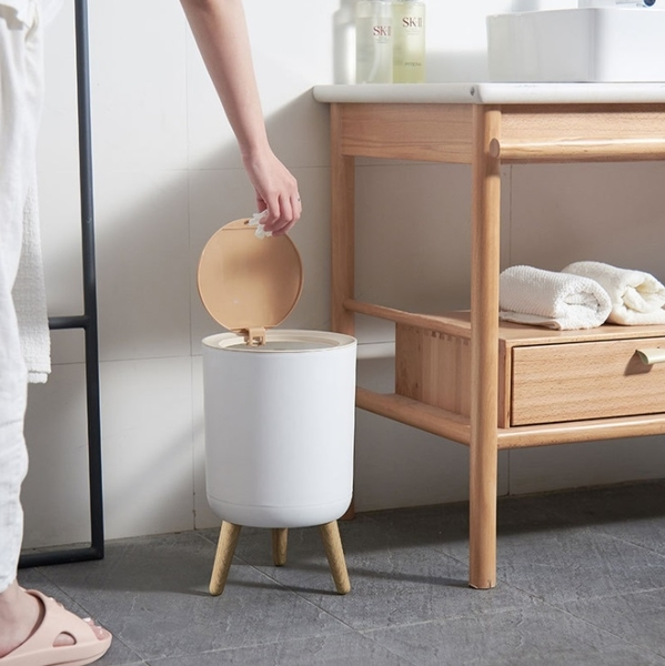 木蓋落地垃圾桶 按壓式垃圾桶 大容量垃圾筒 木蓋垃圾桶 有蓋垃圾桶 垃圾桶 收納桶【RS1216】