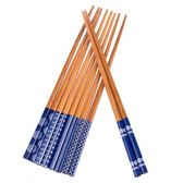 HOLA home 藍底圖案碳化竹筷5入袋裝