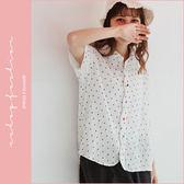 襯衫  三角印花波浪開襟麻紗襯衫  單色-小C館日系