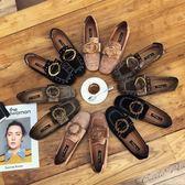Dingle丁果ღ歐美明星款鉚釘大扣帶環絨皮低跟鞋子3色