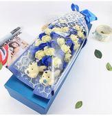 33朵情人節假仿真鮮花玫瑰人造肥皂花禮盒-藍色