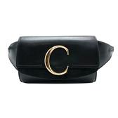 【台中米蘭站】全新品 CHLOE 滑面牛皮C logo 腰包(黑)