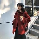 秋季大衣 2020年新款韓版寬松短款加厚毛呢外套女秋冬小個子牛角扣呢子大衣 快意購物網