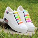 新款低筒白色帆布鞋女內增高韓版潮厚底鬆糕學生單鞋布鞋球鞋 雲雨尚品