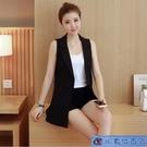 馬夾女中長款顯瘦開衫外套春夏新款韓版白色無袖薄款西裝背心馬甲-完美