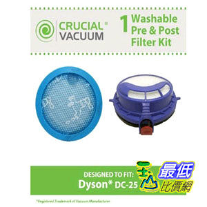 [103 美國直購] 清洗 Dyson DC25 Washable & Reusable Pre & Post Filter Replacement Kit To Part # 916188-05, 914790-01