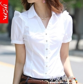 韓版棉新白襯衫女夏短袖職業裝工作服正裝工裝大碼半袖襯衣女裝ol【小艾新品】