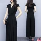 熱賣連體褲 時尚顯瘦女裝新款潮收腰氣質闊腿褲套裝女夏季大碼連體褲 coco
