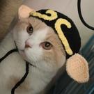 豬八戒貓咪頭套可愛寵物毛線帽子