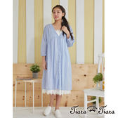 【Tiara Tiara】百貨同步 緹花領開襟排釦純棉襯衫式洋裝(白/藍) 預購 新品穿搭