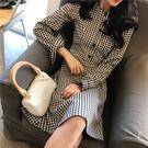 VK精品服飾 韓國風中長款格紋系腰帶氣質長袖洋裝