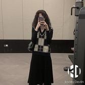 修身針織連身裙女秋冬馬甲套裝兩件套【Kacey Devlin】