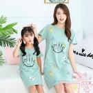 女童純棉睡裙親子薄款夏季母女連身裙兒童短袖睡衣裙【聚可愛】
