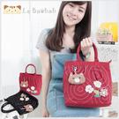 手提包~雅瑪小鋪日系貓咪包 啵啵貓拼貼小花手提包(附贈貓咪零錢包)/側背包/拼布包包