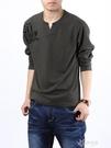 春裝新款男士長袖t恤男裝V領棉質打底衫青年小衫寬鬆顯瘦 【快速出貨】