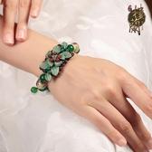 綠色樹葉中國結裝飾品復古民族風手鍊寬琉璃瑪瑙手串女情人節禮物潮