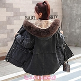 牛仔外套 冬季韓版寬鬆顯瘦時尚羊羔毛加絨加厚中長款女棉衣 - 小衣里大購物