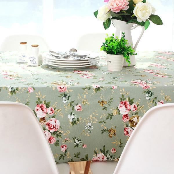 田園時尚玫瑰 棉麻布桌布餐桌布 茶几布 (130*180cm)