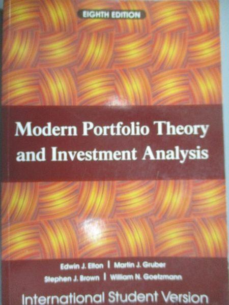 【書寶二手書T1/大學商學_ZJY】Modern Portfolio Theory and Investment Analysis 8/e