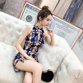 洋裝 夏季新款時尚性感復古名媛旗袍印花鏤空開叉包臀禮服打底洋裝