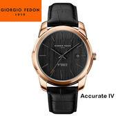 【萬年鐘錶】Giorgio Fedon 1919義大利工藝 Accurate IV 黑x玫瑰金x黑皮帶 GFBY006