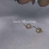 ✦ 正韓 ✦ early Morning - 耳夾 輕飾品 水滴簍空鋯石迷你耳環 韓國帶回【TTI004】
