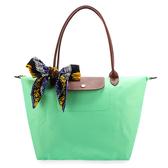 LONGCHAMP經典長提把中型尼龍摺疊水餃包(粉綠色-含帕巾)480132-64