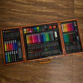 176木盒帶畫板兒童水彩筆彩鉛蠟筆繪畫畫筆套裝igo 至簡元素