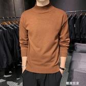 加厚半高領毛衣男士韓版個性針織衫線衣加絨打底衫寬鬆男裝潮流黑『潮流世家』