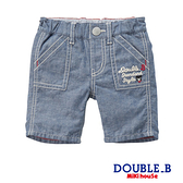 DOUBLE_B 清爽棉麻牛仔風短褲(藍)