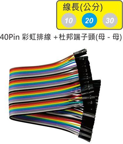 40Pin彩虹排線 + 雙頭杜邦端子 母頭 - 母頭( 線長20公分 )