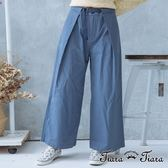【Tiara Tiara】激安 腰綁帶壓摺紋長寬褲(藍/卡其)