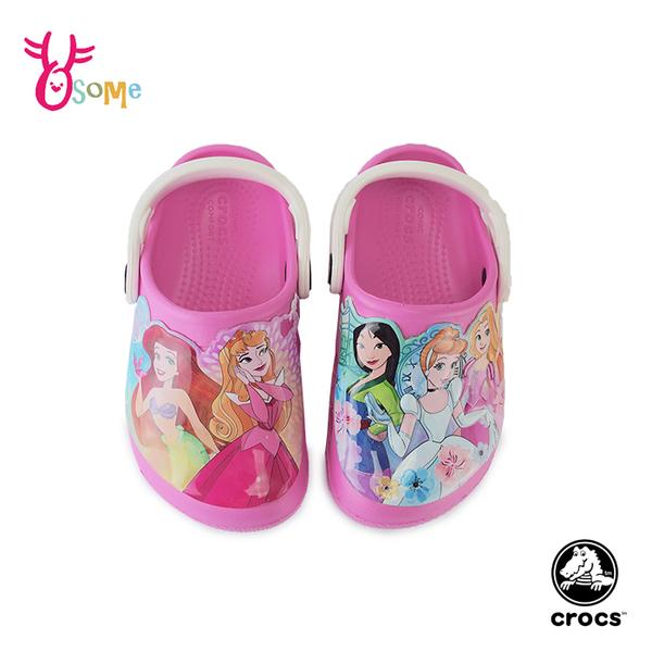 Crocs卡駱馳 女童洞洞鞋 迪士尼聯名 公主 園丁鞋 防水布希鞋 智必星 A1755#粉紅◆奧森