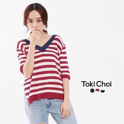東京著衣-前後撞色V領條紋針織上衣(6020638)