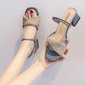 涼鞋 涼鞋女仙女風女鞋年新款夏季網紅百搭涼拖鞋中跟粗跟高跟鞋女