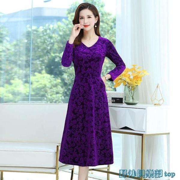 媽媽禮服 媽媽裝旗袍秋季大碼長款連衣裙中老年女裝洋氣金絲絨長袖裙子新款 快速出貨