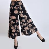 新款中老年女裝夏裝裙褲時尚中年棉麻闊腿褲大碼媽媽裝甩褲九分褲 東京衣櫃
