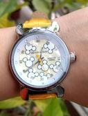 【卡漫城】 超級特價 米奇 皮革 手錶 水鑽 黃 ㊣版 皮革錶 迪士尼 Mickey 米老鼠 女錶 卡通錶 造型