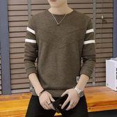 新款男純色格子V領毛衣韓版修身長袖針織衫打底衫薄款潮流男 黛尼時尚精品