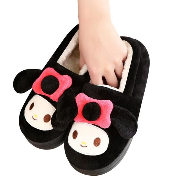 棉拖鞋女士包跟冬季室內厚底情侶居家可愛月子鞋保暖帶後跟男家用
