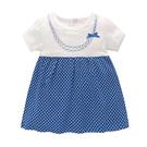 短袖洋裝 Luvena Fortuna 小童 翻領短袖包屁洋裝 - 藍白點點項鍊 H9660