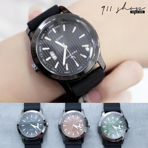 Leisure.V6品牌。直條紋錶面日曆顯示矽膠錶帶手錶【ta522】*911 SHOP*