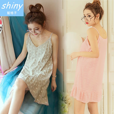 【V1659】shiny藍格子-甜甜粉粉.可愛印花細肩帶連身裙睡衣居家服